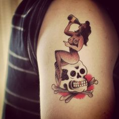 Our Pinup Skull by Paul Nycz. We sell this for $7 on TattooYou.com Paul Design, Mink, Pin Up, Skull, Tattoos, Artist, Ideas, Tatuajes, Pinup