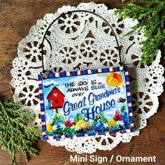 DECO Mini Sign Granny Poppy SMALL SIGN Ornament Family Gift Decorative Greetings