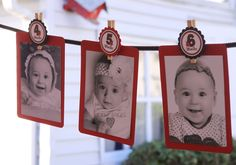 The Original Baby's Year Tags- Create a Photo Banner- Any Theme from my Shop - Tags ONLY - clips, ribbon and cardstock not included Fall Birthday Parties, Baby Birthday, Birthday Party Decorations, Birthday Ideas, Ladybug 1st Birthdays, First Birthdays, Birthday Photo Banner, Ladybug Party, Baby Party