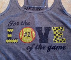 "Custom ""For the Love of the Game"" Softball or Baseball Flowy Racerback Tank - Multiple Colors and Sports Options on Etsy, $30.00"