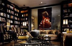 Warm contemporary library/drawing room