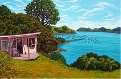Showcasing the artwork of Rachel Olsen, artist painter from Cooks Beach on the Coromandel Peninsula NZ Exterior Design, Interior And Exterior, Beach Scenery, New Zealand Art, Nz Art, Kiwiana, Marker Art, Beach Art, Beautiful Beaches