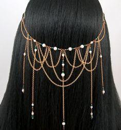 Illithanah - Emerald Ivory Pearl Bridal Medieval Renaissance Antique Brass Circlet/Headpiece. $46.00, via Etsy.
