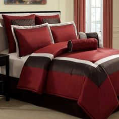 Hotelier 8-Piece Comfoter Set Size: King, Color: Red/Brown by Victoria Classics. $81.99. HTR-8CS-KING-IN-DN Size: King, Color: Red/Brown Features: -Material: 100pct Polyester.-Spot clean pillows.-Machine washable in cold water. Includes: -Includes one comforter, two standard shams, two euro shams, one bedskirt, one breakfast pillow, and one neckroll pillow.