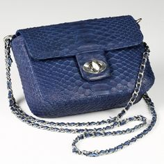 Sofia - Noble blue Python shoulder bag  with chain handle variable. The mini bag made of snakeskin as a perfect mix of cool status symbol and sexy appearance. €229.00