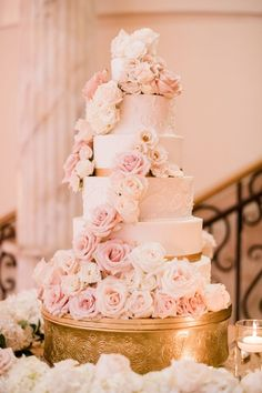 Cinda's Creative Cakes 6 tiered wedding cake with fresh white and link pink flowers cascading down the front photo Blush Pink Wedding Cake, Pastel Pink Weddings, Wedding Cake Fresh Flowers, Pink And White Weddings, Pink Wedding Theme, Rose Wedding, Light Pink Weddings, Floral Wedding, Fall Wedding