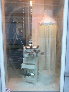 Winter themed window display styled and created by Rich Art Design. Placed at a beauty salon.