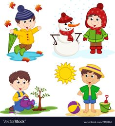 Find Boy Four Seasons Vector Illustration Eps stock images in HD and millions of other royalty-free stock photos, illustrations and vectors in the Shutterstock collection. Thousands of new, high-quality pictures added every day. Seasons Activities, Activities For Kids, Classroom Crafts, Preschool Crafts, Weather For Kids, Animal Pictures For Kids, School Board Decoration, Maternelle Grande Section, Learning Spanish For Kids