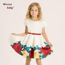Baby Girls Dress Kids Clothes with Rose Flower Belt Brand Children Dress for Girls Princess Christmas Dress 2-10Y Summer 2016(China (Mainland))