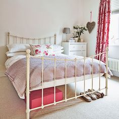 Cream and pink bedroom with iron bed   Bedroom decorating   Ideal Home   Housetohome.co.uk