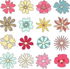 Collection of hand drawn flowers Wall Decal