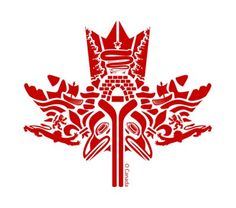 Beautiful First Nations Canadian maple leaf art. Canadian Things, Canadian Art, Native Canadian, Canadian History, Canada Day Crafts, Canada Day Party, Alaska, Haida Art, Canada 150