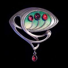 MEYLE & MAYER A silver enamelled brooch set with garnets and with a garnet drop. German Mark for Meyle & Mayer and (Fitted case) Size: Height cm. Enamel Jewelry, Antique Jewelry, Silver Jewelry, Vintage Jewelry, Bijoux Art Nouveau, Art Nouveau Jewelry, Jewelry Crafts, Jewelry Art, Jewelry Design