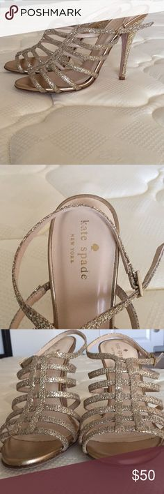 """Kate Spade Gold Glitter Strappy heels Brand new Kate Spade gold glitter heels, these have never been worn kept in the shoe box in my closet. They are too small for me, beautiful shoes! Heels size 4"""" kate spade Shoes Heels"""
