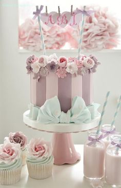Pretty pink cupcakes, perfect for a bridal shower or baby shower! Description from pinterest.com. I searched for this on bing.com/images
