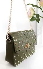 IKRUSH Women's Liah Quilted Gold Studded Shoulder Bags  in KHAKI Size 1SIZE