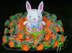 """Isn't this just the cutest Easter display! Tracey is such a kind-hearted person, always making gifts for others and for her daughter to take to school! This little guy and all his carrots are going to school for the kids to enjoy! Each carrot, there are 25, has a special treat for the kids! The Carrots are from HIPPITY HOPPITY SVG KIT and the sweet, adorable Bunny is from BUNNY HOP SVG KIT! So, so very sweet!"" -Debra Vineyard"