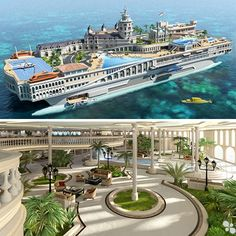 Luxury Overboard: Private Yacht as Tropical Island Paradise Yacht Design, Boat Design, Floating House, Floating Island, Private Yacht, Boat Interior, Kart, Super Yachts, Futuristic Architecture