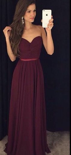 Vestido de Festa, Burgundy Prom Dresses, Simple Prom Dress, Chiffon Prom Dress, Long Prom Dresses, Sweetheart Prom Gown