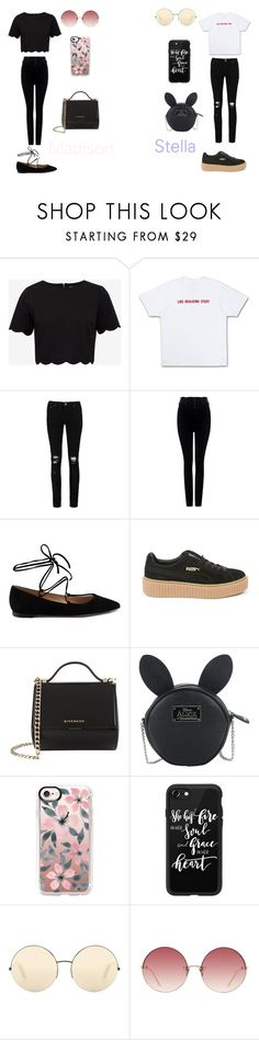 """""""Stella & Madison"""" by caitlinkansil on Polyvore featuring Ted Baker, Boohoo, Citizens of Humanity, Gianvito Rossi, Puma, Givenchy, Disney, Casetify, Victoria Beckham and Linda Farrow"""