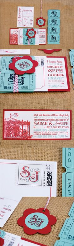 This carnival theme wedding was held at the beautiful Glen Echo Park. The carnival theme invitations had a vintage carousel, carnival ticket sashes, red and teal blue hang tags and bright red envelopes. Click to see all of the details for this carnival we