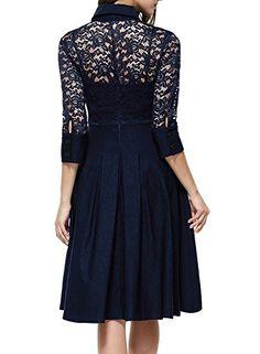 Missmay Womens Vintage 1950s Style 3/4 Sleeve Black Lace Flare A-line Dress