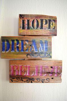 Pallet  Wall decoration    HOPE # DREAM # BELIEVE  (30cm x 27cm)                    NZ$39
