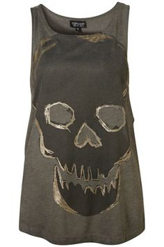 Acid Wash Foil Skull Vest - Man, this top is AWESOME !!! Why is it oos ??? :'(