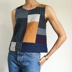 made a gorgeous patchwork Grainline Studio Willow Top Scrap Fabric Projects, Fabric Scraps, Diy Clothes, Clothes For Women, Sewing Clothes Women, Pulls, Dressmaking, Sewing Patterns, Shirt Ideas