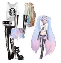 pastel goth #2 by red-foxess-and-wolf on Polyvore featuring polyvore, fashion, style, Cotton Candy and Accessorize