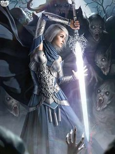 f Paladin Plate Sword midlvl vs undead dungeon crypt Artist: Unknown - Title: Unknown - Card: Lumeria of the Lightspar (Glowing) Fantasy Warrior, Fantasy Girl, Warrior Girl, Fantasy Women, Fantasy Rpg, Medieval Fantasy, Fantasy Artwork, Dark Fantasy, Fantasy Characters