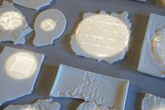 porcelain experiments #tiles #transparant #white #translucent #porcelain #15x15 #bathroom #textiles #wall #decoration #led #imprint #relief #barbaravos #wallcovering #kitchen #shower #home #interior #design #glaze #backsplash #flower #pattern #coral #fabric