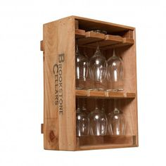 Wine Crate 12 Wine Glass Holder Vintage Pine Wine Crate 12 Glass Holder keeps up to twelve of your wine glasses close at hand in our stylish wine crate. Solid wood pine crate has the authentic vineyard stamp on both sides. Crates are easily hung from a wall or may be placed on a tabletop or bar. Mix and match all three available wine crate styles, Wine Crate 12 Bottle Wine Rack, Wine Crate Bottle and Glass Rack Combo, and the Glass Rack, for a unique and sophisticated grouping that will…