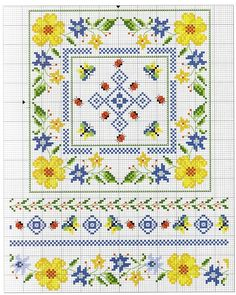 no color chart available, just use pattern chart as your color guide. or choose your own colors. Biscornu Cross Stitch, Mini Cross Stitch, Beaded Cross Stitch, Cross Stitch Borders, Cross Stitch Flowers, Cross Stitch Charts, Cross Stitch Designs, Cross Stitching, Diy Embroidery