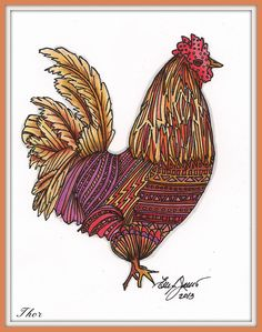 Ellen (CardMonkey) draws chickens with pen and ink, and colors them in a unique blend of Copic markers. They are available as prints or notecards.