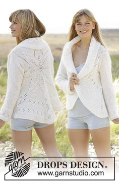 """Knitted DROPS jacket worked in a circle with leaf pattern in """"BabyAlpaca Silk"""" and """"Kid-Silk""""."""