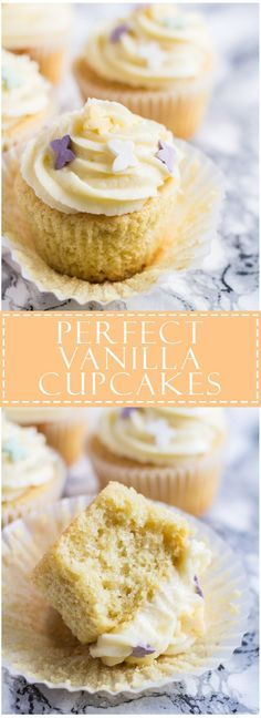 Perfect Vanilla Cupcakes - Scrumptiously moist and fluffy cupcakes infused with vanilla, and topped with creamy vanilla buttercream frosting!