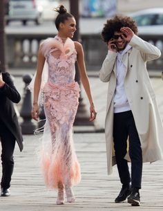 Cindy Bruna & Yassine Rahal photographed by Hans Feurer for Vogue Arabia March 2017    Stylist: Azza Yousif  Hair: Maxime Mace  Makeup: Kathy Le Sant