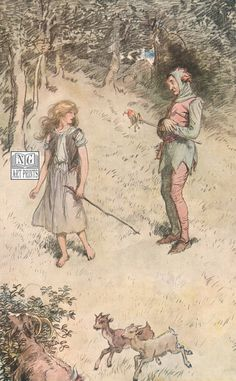 1900s Antique Childrens Print, Shakespeare's As You Like It, Touchstone & Audrey by NGArtPrints http://etsy.me/1ss1xgW via #Etsy