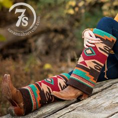 The Tallahassee Boot Rugs - Navajo blanket Boot Rugs. Gorgeous combination of red, cream, gold, turquoise and brown southwest print. Tan leather laced back. Cowgirl style. Rodeo fashion. Women's Western Wear. Ranch style. Boho cowgirl. https://savannahsevens.com/collections/boots/products/the-tallahassee-boot-rugs