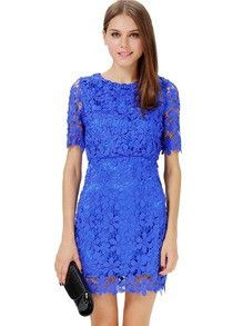 Floral Dress Spring - Blue Short Sleeve Hollow Floral Crochet Bodycon Dress