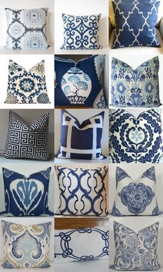 The Enchanted Home: A serious blue and white pillow quandry! blue and white throw pillows Blue Rooms, Blue Bedroom, Indian Bedroom, White Rooms, Bedroom Decor, Eames Design, Blue And White Pillows, Blue Pillows, White Cushions