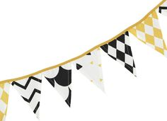 Stylish, monochrome bunting from Nobodinoz with yellow gold highlights. Create a fun setting for babies and children with this black & white, cotton garland. Gold Highlights, Bunting, Monochrome, Garland, Flag, Black And White, Wood Toys, Flag Wreath, Kids House