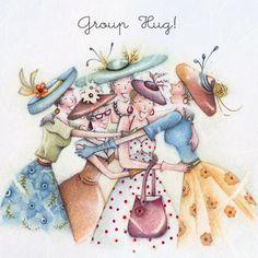 Cards » Group Hug » Group Hug  , Ladies Who Love Life ... Berni Parker funny cute art  Berni Parker Designs