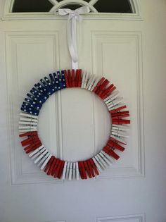 Patriotic Clothespin Wreath DIY