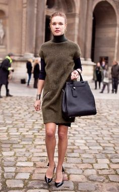 Natalia Vodianova in lovely muted green and black / #style