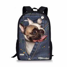 2aa9deb797 FORUDESIGNS Cool Printing Denim Cat Dog Backpack for Children High Primary  School Student Kids Bagpack Teen Boys Girls Bookbags