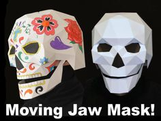 Skull Mask with Moving Mouth - Low Poly Mask Pattern Uses Just Paper and Glue - Two Styles! | Halloween Mask | Dia de Los Muertos from TetraVariations on Etsy Studio