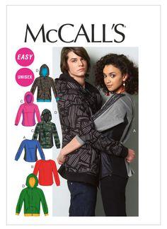 Sewing Pattern for Misses'/Men's Tops & Hoodies, Easy McCall's Pattern 6614, His n Hers Crew Necks,Hoodies, Zip Up Hoodies, Plus Sizes Avail