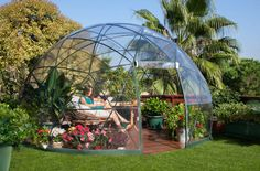 "Garden Igloo ""Four Seasons"" A multipurpose geodesic dome designed both as a winter garden and a summer canopy.  Create comfortable outdoor living spaces for your Hobby Greenhouse, Playground, Garden Storage, Conservatory, Garden Shed, Jacuzzi Cover, …  www.gardenigloo.com"